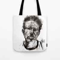tom waits Tote Bags featuring Tom Waits Bad As Me  by b_ethany