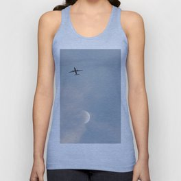 Airplane and the moon Unisex Tank Top