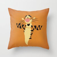 tigger Throw Pillows featuring Winnie the Pooh Tigger Nursery Art Retro Style Minimalist Poster Print by The Retro Inc