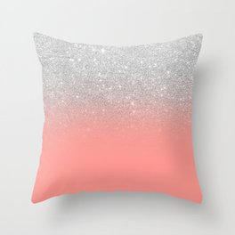Modern chic coral pink silver glitter ombre gradient Throw Pillow