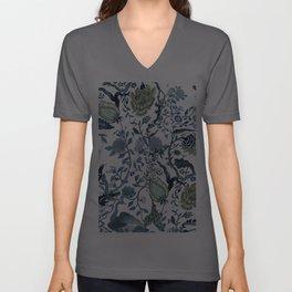 Blue vintage chinoiserie flora Unisex V-Ausschnitt