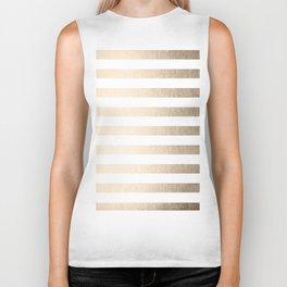 Simply Striped in White Gold Sands Biker Tank