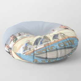 Atlantic City Lifeboats Floor Pillow