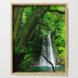 Waterfall in Azores islands Serving Tray