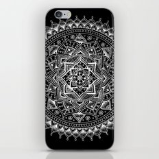 White Flower Mandala on Black iPhone & iPod Skin