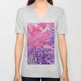 Modern violet lime green lavender pink marble floral Unisex V-Neck