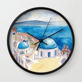 Santorini Oia View Mediterranean Dream Wall Clock