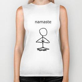 Namaste stick man Biker Tank