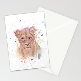African Lioness Watercolor Digital Painting Stationery Cards