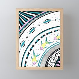 Fish Doodle Funky Pattern Chic Ink Framed Mini Art Print