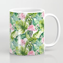 Pink green watercolor flamingo tropical monster leaves Coffee Mug