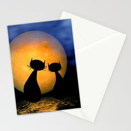 let's dream together - mooncats Stationery Cards
