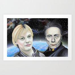 Katee Sackhoff and Edward James Olmos Art Print