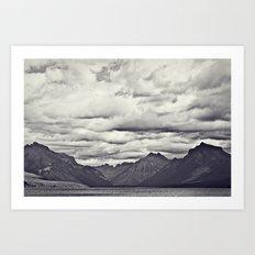 Mountain Lake Black and White Art Print