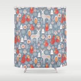 Fairy forest, deer, owls, foxes. Decorative pattern in Scandinavian style. Folk art. Shower Curtain