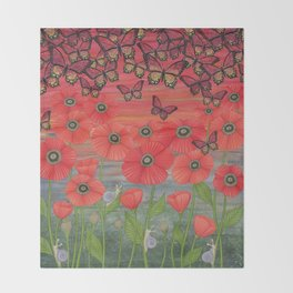 red sky, butterflies, poppies, & snails Throw Blanket