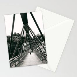 Pedestrian Bridge in Lyon - Fine Art Black and White Photography Stationery Cards