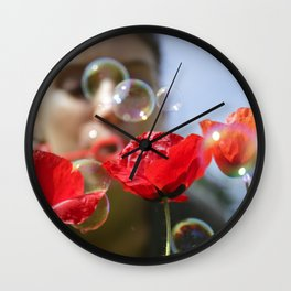 Red poppies fun bubbles and beautiful Russian outdoor girl Wall Clock