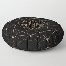 Flower of Life Black and Gold Floor Pillow