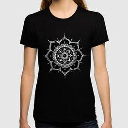 White mandala on black T-shirt
