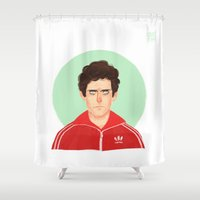 tenenbaum Shower Curtains featuring Chas Tenenbaum by Galaxyspeaking