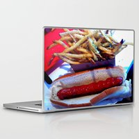 hot dog Laptop & iPad Skins featuring hot dog by smilingbug