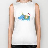 hippo Biker Tanks featuring hippo by sosie&gogo
