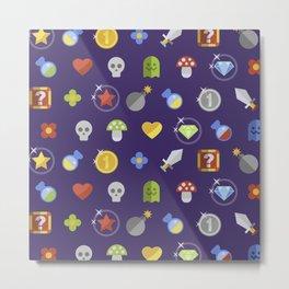 Video Game Universe Pattern Metal Print