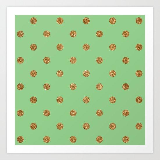 Sea Green Gold Glitter Dots Art Print