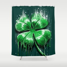 Four Leaf Clover Melting Luck Shower Curtain