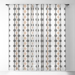 Droplets Pattern - Caramel & Black Coffee Sheer Curtain