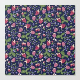 Berries on blue background Canvas Print