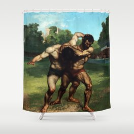 The Wrestlers by Gustave Courbet (1853) Shower Curtain