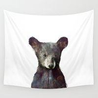 wildlife Wall Tapestries featuring Little Bear by Amy Hamilton
