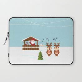 Christmas market cartoon illustration with Santa Claus behind the stand Laptop Sleeve