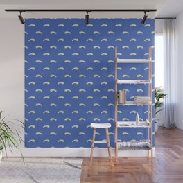White and Yellow Fishbones Skeletons on Midi Blue Wall Mural