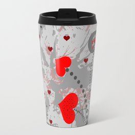 Abstract background with red hearts Travel Mug