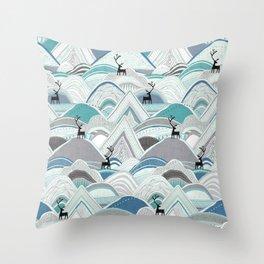 caribou mountains blue Throw Pillow
