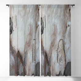 Close Up Abstract Of Blue Grey and Brown Bark Blackout Curtain