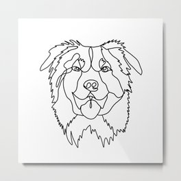 Aussie Dog - australian shepherd, dog line art, black and white dog art, dog art, pet art,, dog sticker Metal Print