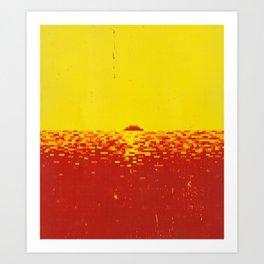 Sunset Pixels Art Print