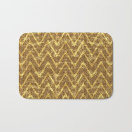 Faux Suede Chocolate and Gold Chevron Pattern Bath Mat
