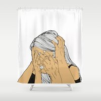 introvert Shower Curtains featuring Introvert 9 by Heidi Banford