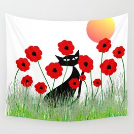 Whimsical Black Cat and Red Poppies Wall Tapestry
