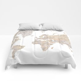 """World map in gray and brown watercolor """"Abey"""" Comforters"""
