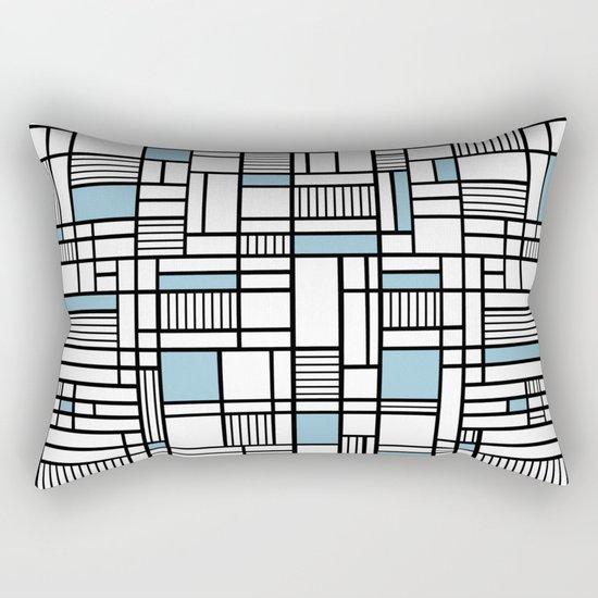 Map Lines Sky Blue Rectangular Pillow