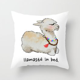 Llamaste in bed. Throw Pillow