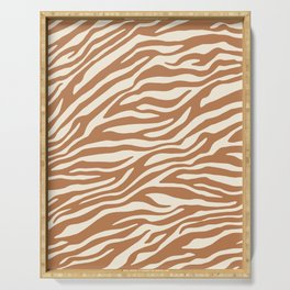 Brown Zebra Animal Print Serving Tray