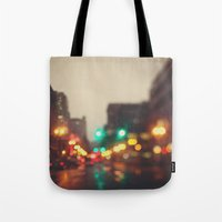 portland Tote Bags featuring Portland In The Rain by Laura Ruth