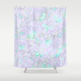 Modern lavender turquoise hand drawn watercolor botanical floral Shower Curtain